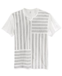 Inc International Concepts Men's Pine Blocked Stripe Split Neck T Shirt Only At Macy's Washed White