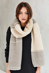 Urban Outfitters Colorblock Seed Stitch Scarf Neutral Multi