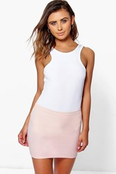 Boohoo Harper Mini Bodycon Skirt Nude