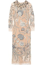 Biyan Adina Embellished Embroidered Swiss Dot Tulle Gown Gray
