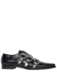 Dsquared 20Mm Leather Shoes W Western Buckles Black