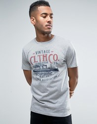 Jack And Jones Vintage T Shirt With Vintage Print Light Grey