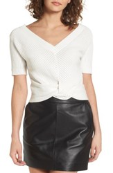 J.O.A. Women's Knot Front Sweater White