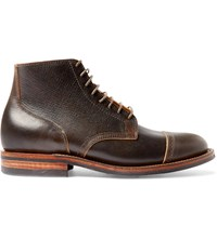 Viberg Brogue Detailed Leather Lace Up Boots Brown