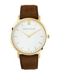 Larsson And Jennings Lugano 40Mm Gold Brown Leather