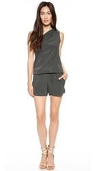 Ramy Brook Lulu One Shoulder Romper Granite