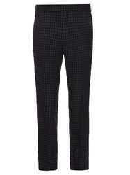 Paul Smith Checked Slim Leg Wool And Linen Blend Trousers Grey