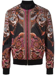 Versace Collection Printed Bomber Jacket Black