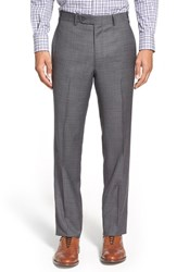 Men's Big And Tall Di Milano Uomo Flat Front Plaid Wool Trousers Grey