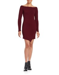 The Vanity Room Long Sleeve Off Shoulder Sheath Dress Wine