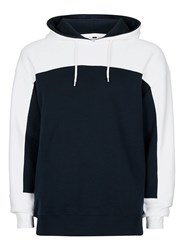 Topman Blue Navy And White Panelled Classic Fit Hoodie