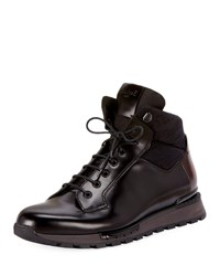 Berluti Glazed Calf Leather Hiking Boots Black