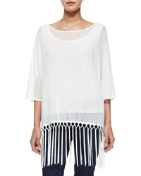 Johanne Beck Sheer Knit Fringe Tunic White