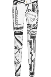 Versus Anthony Vaccarello Printed Mid Rise Skinny Jeans