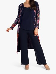 Chesca Floral Coat Navy Multi