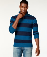 Tommy Hilfiger Rugby Striped Quarter Zip Sweater French Blue Navy