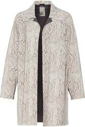 Norma Kamali Reversible Snake Effect Stretch Tech Jersey Coat Cream