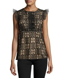Max Studio Ruffle Sleeve Lace Overlay Blouse Black Pattern