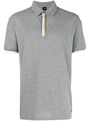 Hugo Boss Striped Ribbon Trim Polo Grey