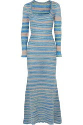 Jacquemus Perou Striped Knitted Maxi Dress Blue