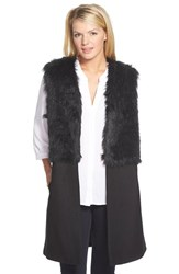 Women's Rd Style Faux Fur Trim Long Open Front Vest