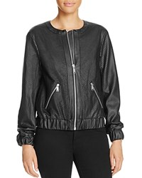 Michael Michael Kors Perforated Faux Leather Bomber Jacket Black