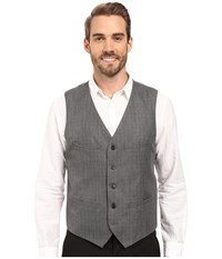 Perry Ellis Mini Check Twill Suit Vest Charcoal Men's Vest Gray
