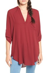 Lush Women's 'Perfect' Roll Tab Sleeve Tunic Cordovan