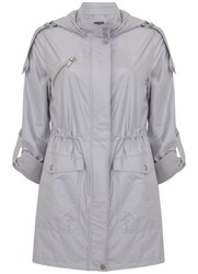Mint Velvet Dove Metallic Soft Parka Light Grey