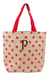 Cathy's Concepts Personalized Polka Dot Jute Tote Red Red P