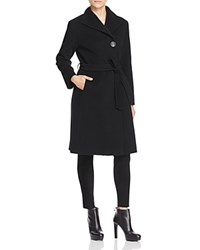 Cinzia Rocca Belted Asymmetric Front Coat Black
