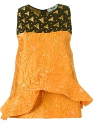 Msgm Ruffle Detail Sleeveless Top Yellow And Orange
