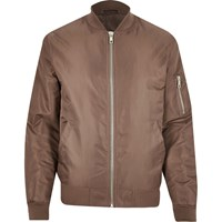 River Island Mens Mink Padded Ma1 Bomber Jacket