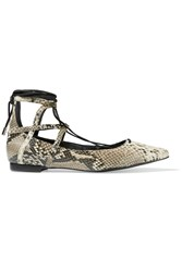Schutz Beryl Snake Effect Leather Point Toe Flats Animal Print