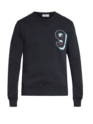 Ami Alexandre Mattiussi Chest Applique Cotton Jersey Sweatshirt Navy