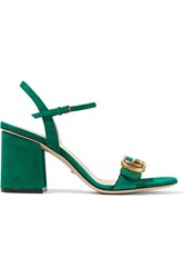 Gucci Suede Sandals Dark Green