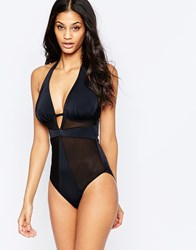 Asos Fuller Bust Exclusive Mesh Insert Wired Swimsuit Black