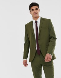 Jack And Jones Premium Stretch Slim Suit Jacket In Khaki Forest Night Green