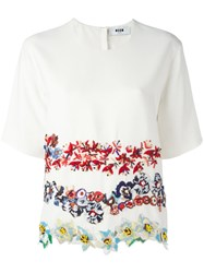 Msgm Embroidered Flower T Shirt White