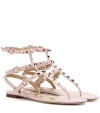 Valentino Rockstud Patent Leather Sandals Pink