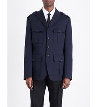Dsquared2 Military Stretch Wool Jacket Navy Blue