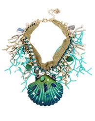 Betsey Johnson Glitter Reef Sea Shell Statement Necklace Teal
