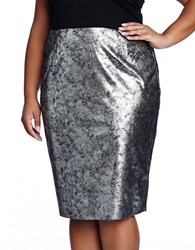 Modamix Plus Plus Size Jaclyn Metallic Leatherette Skirt