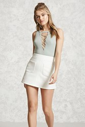Forever 21 Faux Suede Mini Skirt White