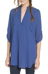 Lush Women's Perfect'roll Tab Sleeve Tunic Twilight Blue