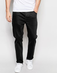 Asos Stretch Tapered Jeans In Black Black