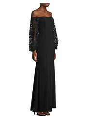 Laundry By Shelli Segal Off The Shoulder Embroidered Gown Black