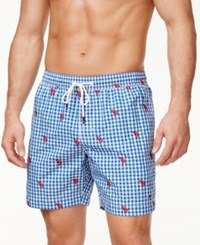 Tommy Hilfiger Men's Embroidered Check Pattern Board Shorts Nautical Blue