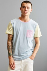 Urban Outfitters Uo Standard Fit Colorblock Pocket Tee Sky