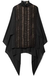 Elie Saab Cape Back Cotton Blend Lace And Georgette Turtleneck Blouse Black